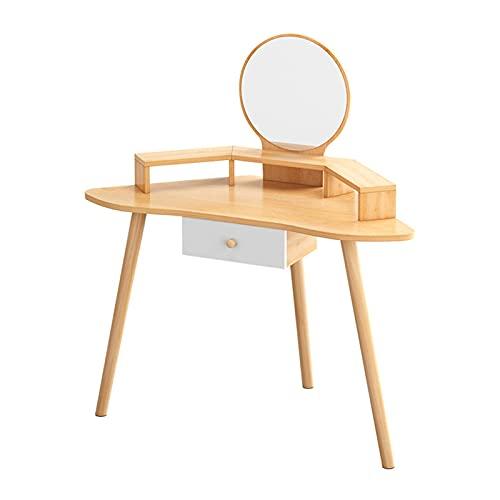 Moderna Tocador esquina curvada Tocador de maquillaje escritorio con espejo y taburete Dormitorio Vanity mesa for chicas 1 dormitorio cajones Dresser maquillaje Escritorio Muebles for El Maquillaje de