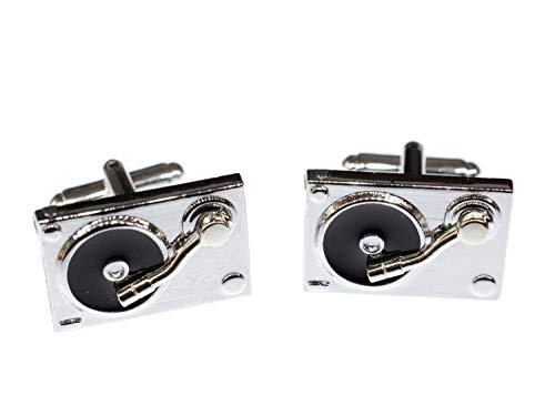 Miniblings Plattenspieler DJ Platte Musik Manschettenknöpfe - Handmade I Manschettenknopf Cufflinks Hemdknöpfe I schöne Holzbox inklusive - Plattenspieler DJ Platte Musik