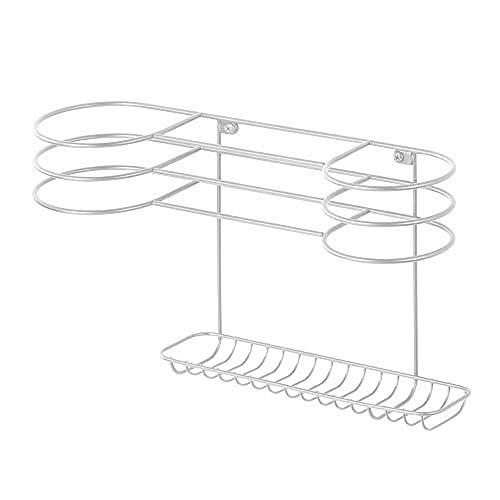 Gl/ätteisen und B/ürste ideales T/ürregal zur F/ön Aufbewahrung im Bad grau mDesign F/önhalter ohne Bohren optimaler Badorganizer f/ür Lockenstab