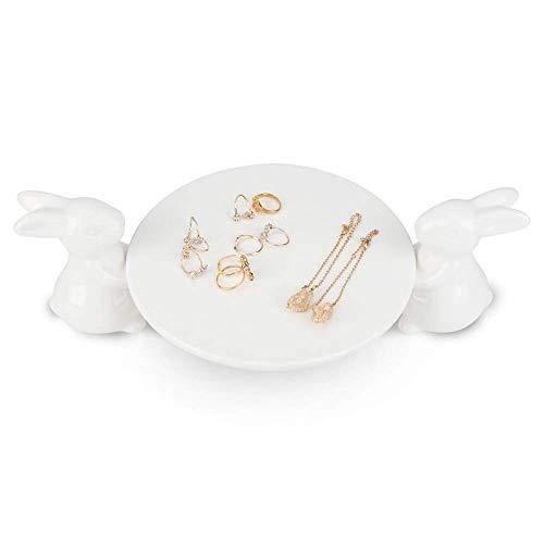 HHTX Porte-Bague en céramique Adorable Plateau à bibelots en Porcelaine avec Assiette Blanche dérorative pour Bijoux, Boucles d'oreilles Bracelet Collier Assiettes de Rangement pour Anneaux cadea