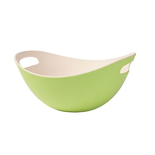 BIOZOYG Bambus Salatschüssel mit Griffen I Müslischale Salatschale Obstschale Holzschale wiederverwendbar, umweltfreundlich, BPA frei I Bambusschale oval 25,5 cm grün weiß