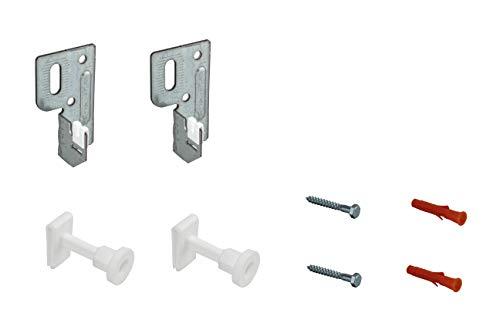 HK Befestigung Kompakt Heizkörper mit Halterung Wand Konsole, Wahlweise 2 oder 3 Halter sowie optional mit Entlüfter (2 Halter ohne Stopfen)