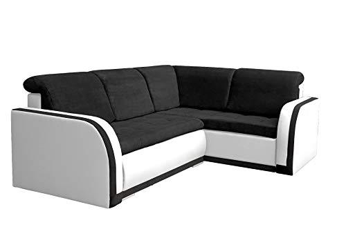mb-moebel Ecksofa Sofa Eckcouch Couch mit Schlaffunktion und Bettkasten Ottomane L-Form Schlafsofa Bettsofa Polstergarnitur - VERO III (Ecksofa Rechts, Schwarz + Weiß)