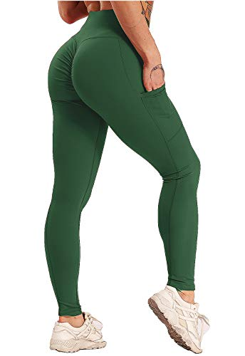 FITTOO Mallas Leggings Mujer Pantalones Deportivos Yoga Alta Cintura Elásticos Transpirables Verde L