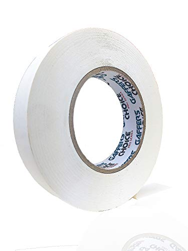 Gaffer Tape 1 inch x 60 Yard White by GAFFER'S CHOICE - Adhesive is Safer Than Duct Tape - Waterproof & Non-Reflective Multipurpose Spike Tape