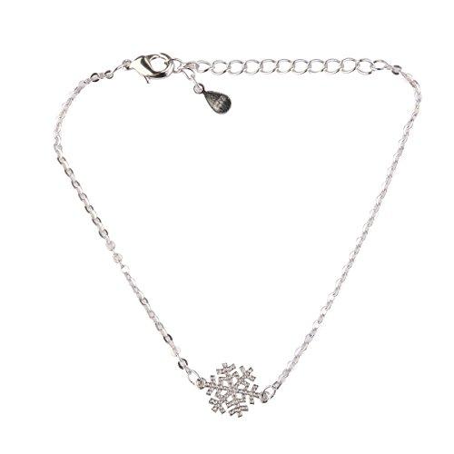 Bracelet élastique Winomo avec charme motif flocon de neige - Un élégant cadeau en argent motif décoration de Noël