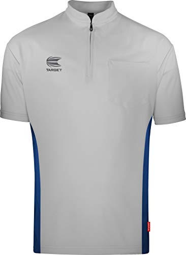 Target Darts Coolplay Kragenlos Pro Darts Shirt Hellgrau mit Blau L