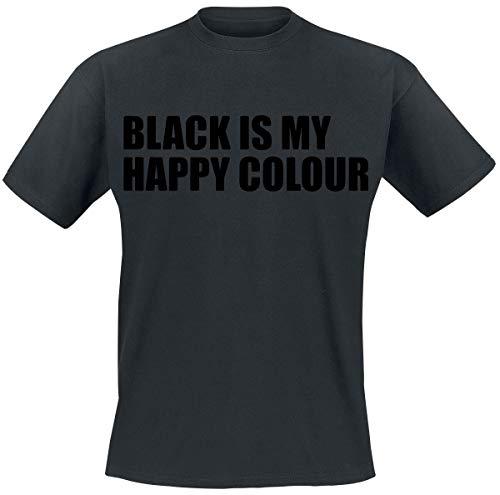 Black Is My Happy Colour Homme T-Shirt Manches Courtes Noir XL, 100% Coton, Regular/Coupe Standard