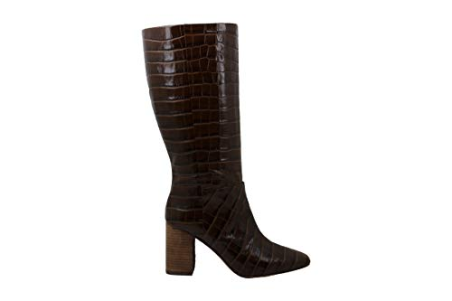 Vince Camuto Womens Risy Leather Square Toe Knee High, Chocolate Brown, Size 9.0