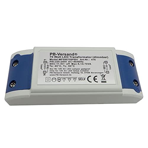 LED Trafo 1-70 Watt 12V~ AC (klein und kampakt) - Transformator - Hochleistungstrafo für G4, GU4, GU5.3, MR16, MR11 Leuchtmittel Spots und mehr