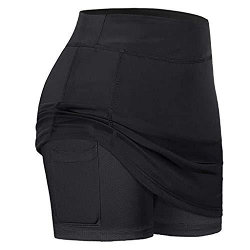 RETYLY Faldas Tenis para Mujer Cortos Internos Pantalones EláSticos Deportivos con Bolsillos Fit Yoga Fitness Running L