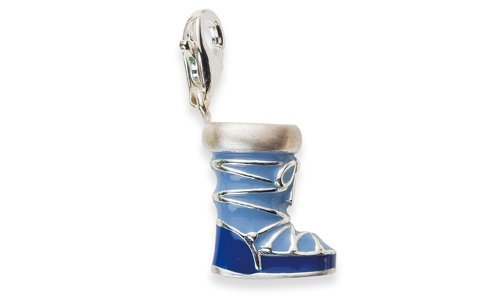 Charm Anhänger Stiefel Moonboots 925 Silber Emaille