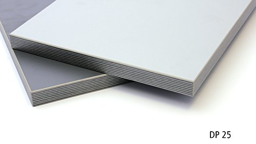 Isel 443038 Dekorplatte DP25, Melaminplatte, Wendeplatte, 1000 x 400 x 25mm, zweifarbig(weißaluminium/vulkangrau)