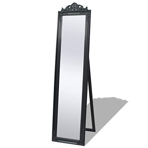 vidaXL 243694 Standspiegel Ankleidespiegel im Barock-Stil Landhaus 160x40 cm Schwarz, Holz, One Size