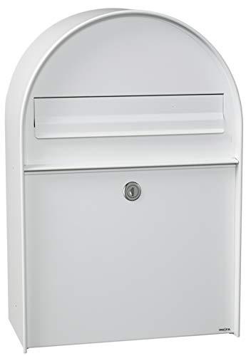 Renz 401000M MEFA brievenbus Amber 401 (kleur verkeerswit, regenbeschermende overstek, uitnemen achteraan, grootte: 555x380x210 mm), wit