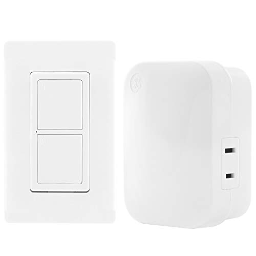 GE mySelectSmart Wireless Remote Control Switch, On/Off, 1 Outlet, 150 ft. Range from Plug-in Receiver, Ideal for Lamps & Indoor Lighting, No Wiring Needed, 36523, White