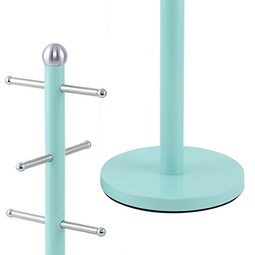 SQ Professional Dainty Mug Tree and Kitchen Roll Holder Stand Set - Seafoam Green