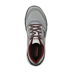 Skechers Men's Max Cushioning Premier Vantage-Performance Walking & Running Shoe Sneaker, Grey/Red, 8.5 4E US