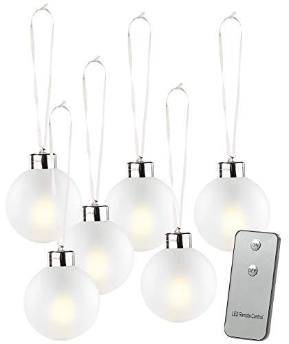 Lunartec Weihnachtsbaumkugeln: Beleuchtete Weihnachtsbaum-Kugeln aus Glas, mit Fernbed,6 Stück, weiß (Weihnachtskugeln beleuchtet)