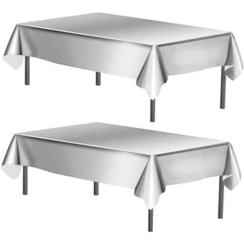 WEONE Juego de 2 Plata Mantel de Papel de Aluminio, 40 x 108 Pulgadas Cubierta de Mesa Rectángulo, Fiesta Manteles de Mesa para Fiesta Cumpleaños Boda Navidad Decoración de Mesa