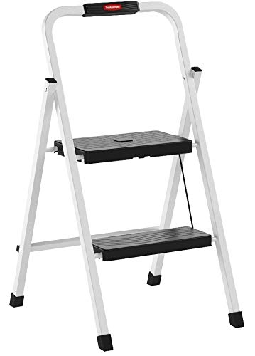 Rubbermaid RM-HSP2 Folding 2-Step Lightweight Steel Step Stool with Hand Grip, 200-Pound Capacity, White Finish