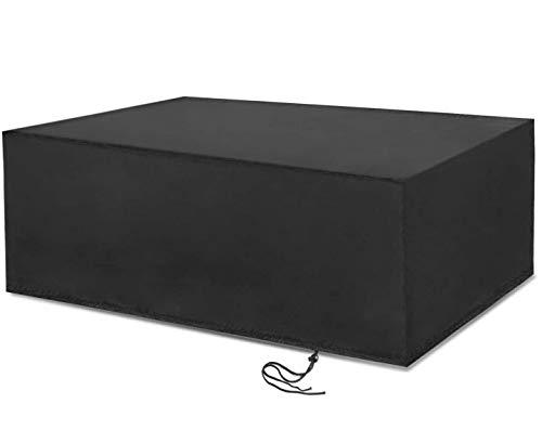Vordas Fundas para Mesas, 210D Cubierta de Muebles de Jardín (Tamaño: 270x180x89cm), Copertura Impermeable para Mesas Rectangular - Negro