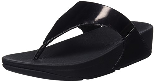 FitFlop Lulu Toe Post, Sandalias con Plataforma Mujer, Negro (Black Mirror 484), 41 EU