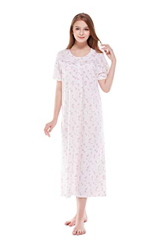 Keyocean Nightgowns for Women All Cotton Print Short Sleeve Soft Long Nightgown Sleep Wear Lounge wear, Small