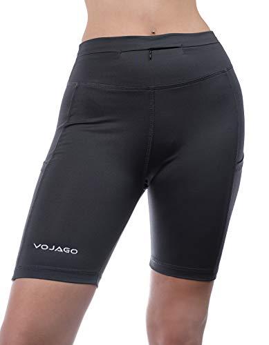 Vojago - Pantalones cortos de yoga con bolsillos para mujer - Gris - XS