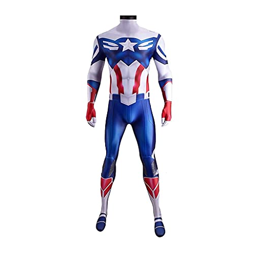 ZDVHM Capitán América Disfraz Kids Adult Anime Anime Superhero rol Cosplay Onesies ONESIUT MODIFOTUIT Halloween Carnaval FIESTE FIESTO BODO BODOS DE Rendimiento (Size : Kid XL 145~155cm)