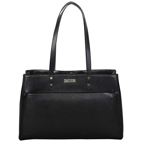 "Kenneth Cole Reaction Women's Downtown Darling Faux Leather Dual Compartment 15"" Laptop Tote, Black"