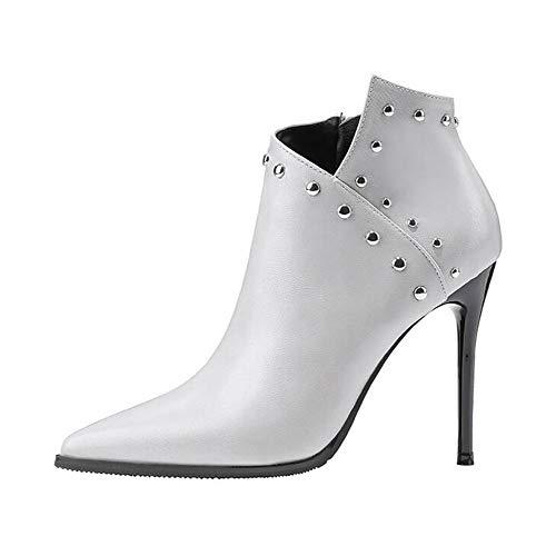 OOFAY Damen High Heels/Sexy Stiefeletten/Nieten Lederstiefel Martin Boots/Side Zipper Ankle Boots 34-39,Grau,39