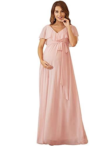 Ever-Pretty Vestido Embarazada Mujer para Fotografía Falda Escote en V Manga Corta Hoja de Loto Rosado 36