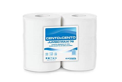 IMBALLAGGI 2000 - Jumbo Maxi Carta Igienica - Maxi Rotolo Carta Igienica Scorta per Dispenser - 1 Confezione da 6 Rotoli