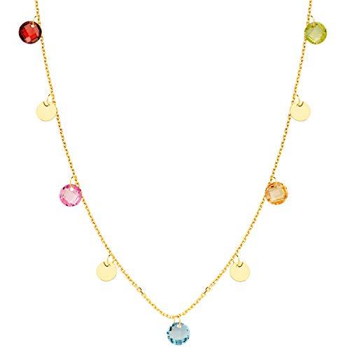 Iyé Biyé Jewels Collar Gargantilla Chapas y Circonitas Colores Mujer Niña Oro Amarillo 18 Ktes Cadena Forzada 45 Cm