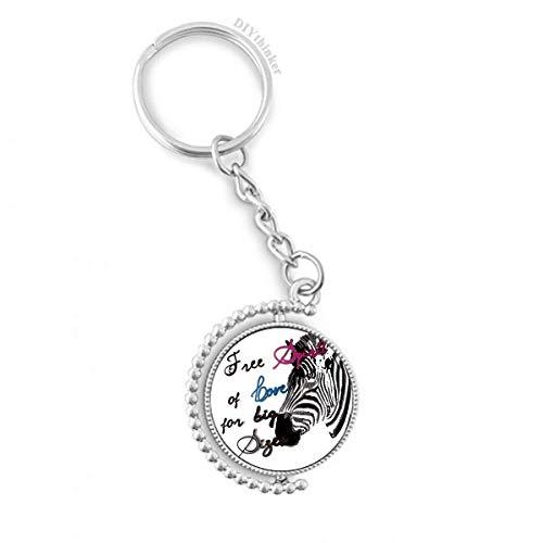 DIYthinker Einfaches Zebra Bild Brief Tier Drehbare Schlüsselanhänger Ringe 1.2 Zoll x 3.5 Zoll Mehrfarbig