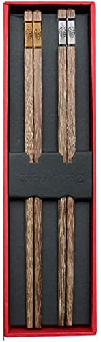 Palillos reutilizables chinos palillos de madera lavavajillas Corriente portátil de vajilla portátil con caja de regalo, un par de 2 sets alas de pollo de madera para cocinar comiendo-a