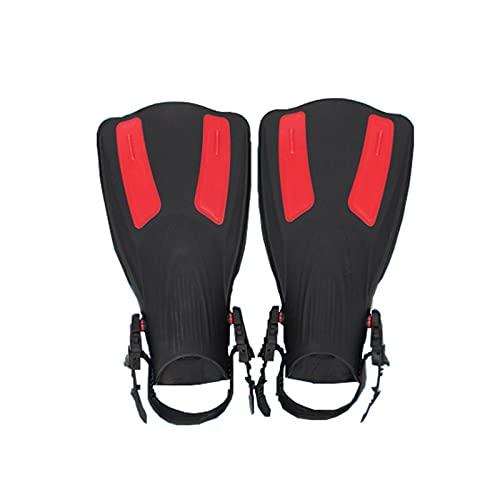 ZGF Hebillas Ajustables Abierre del talón Swim Pippers Tamaño de Viaje Aletas de baño Cortas para Snorkeling Hombres Adultos para Hombres,Rojo,XS to M