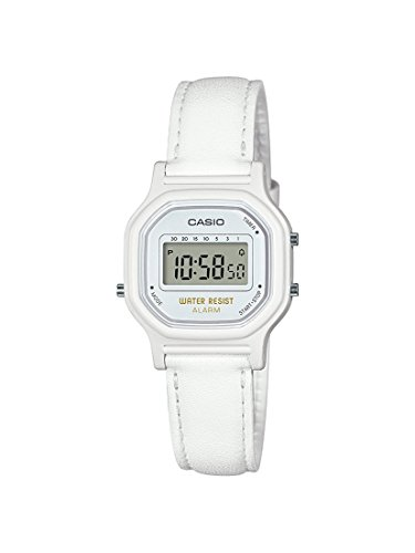Casio Women's Classic Quartz Watch with Leather-Synthetic Strap, White, 14.8 (Model: LA-11WL-7ACF)