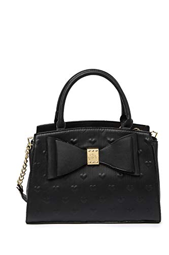 This Betsey Johnson Quilted Heart XOXO Betsey gold tone center charm Double bow faux leather satchel shoulder bag is per for that edgy woman who wants fashion plus versatility. All over Quilted heart indented stripe exterior with gold tone XOXO Betse...