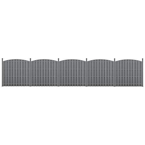 neu.holz] 2X WPC Gartenzaun mit Rundbogen und Pfosten 185x932cm Grau Sichtschutz Windschutz Lamellenzaun Zaun