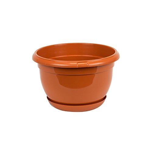 Pot de fleur plastique Malta 19 cm marron avec twist soucoupe