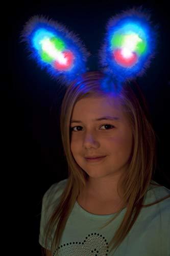 Smiffys Oreilles de lapin, lumineuses, bleues, marabou, avec LED multi couleurs