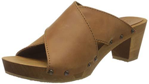 Sanita Ennike Square Flex Sandale | Original handgemacht |Flexible Ledersandale für Damen, Größe: 38 EU, Braun