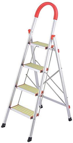NOOYC Escalera de Mano, 4 Paso Escalera Plegable Antideslizantes Fuerte Estabilidad con empuñadura Conveniente Escalera Alta Multifuncional Escalera telescópica para Home Office Loft,1.5m