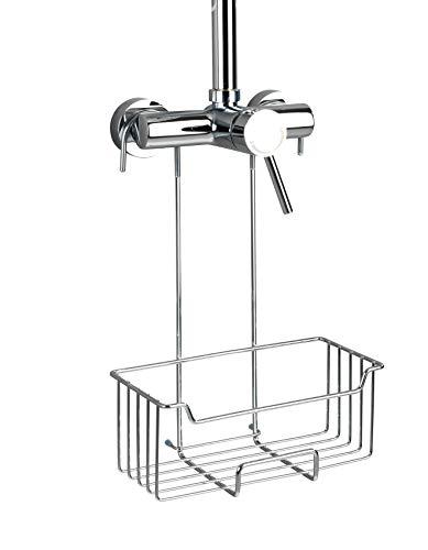 Wenko Thermostat-Dusch-Caddy Milo, Duschregal zum Einhängen an die Armatur in der Dusche, Duschablage aus rotfreiem Edelstahl 25 x 36 x 14 cm, glänzend