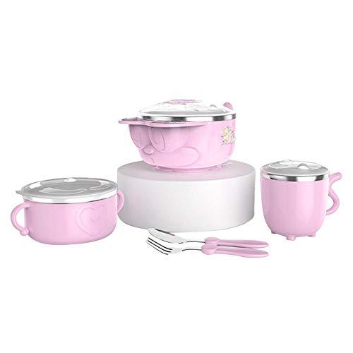 Eillybird 5 Stück Baby-Wasser-Einspritzung, die Schüsseln mit Gabel-u. Löffel-Saugschale-Edelstahl-Geschirr Set Bowls mit Deckel,Anti-Caliente/ungiftiges Geschirr Set Bowls Schalen- und Löffelset