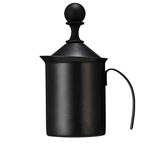 Montalatte Maker Manuale Montalatte in Acciaio Inox a Doppia Maglia del Montalatte Schiuma con Manici e Coperchio Brocca Cup for Cappuccino Latte Strumento di Decorazione (Colore: Nero) WTZ012