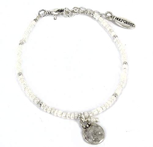 Hultquist Armband Coins White Beads Silver White