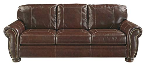 Signature Design by Ashley - Banner Traditional Style Faux Leather Sofa with Nailhead Trim, Coffee
